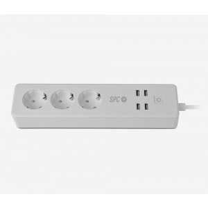 Regleta Spc Clever Power Strip 3ac 4usb Inteligente Blanca