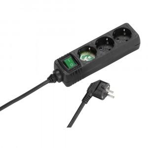 Regleta Vivanco Ebls 3s 3 Enchufes + Interruptor 1.4m Negro